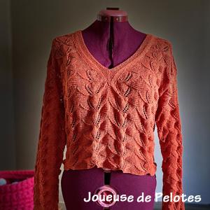 pull tricoté main en lin en dentelle