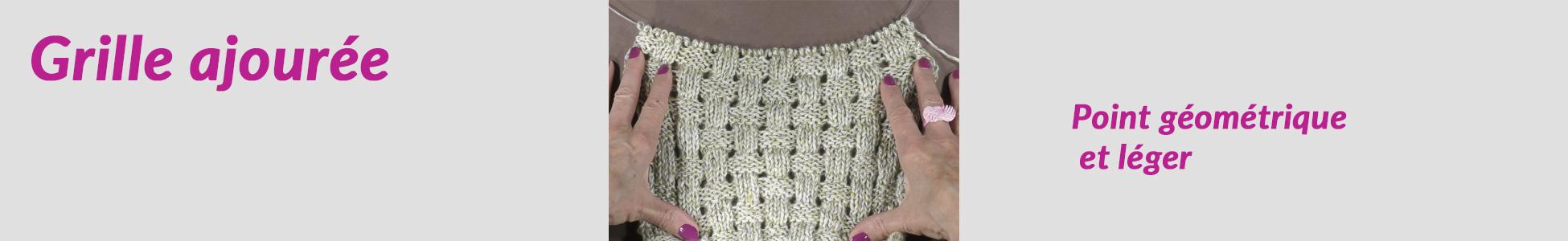 Beau point de grille au tricot